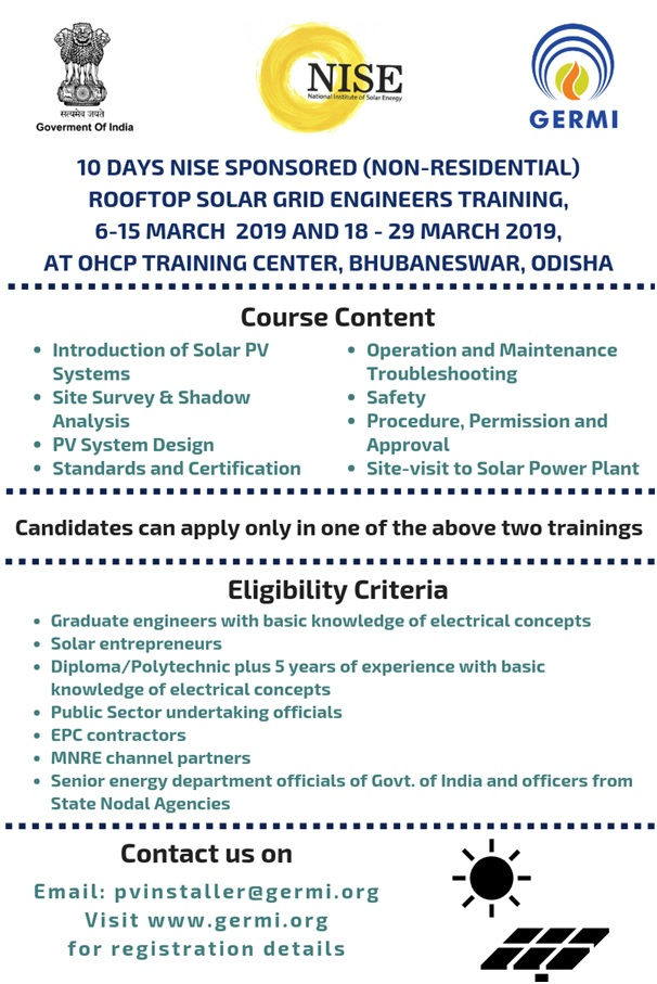 NISE Sponsored Rooftop Solar Grid Engineers Training at