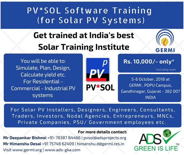 3rd Solar Software Training (PV*SOL) at GERMI